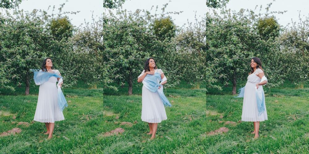Séance maternité grossesse (pregnancy session) dans les pommiers en fleurs proche de Dieppe en Normandie par Emmanuelle Auzou Vogue Photography